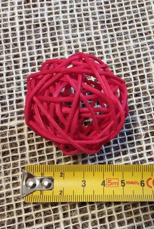 Dekoracyjna kula rattanowa średnica 5 cm kolor czerwony